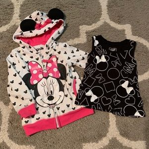 2T Minnie Mouse ears hoodie and tank top girls